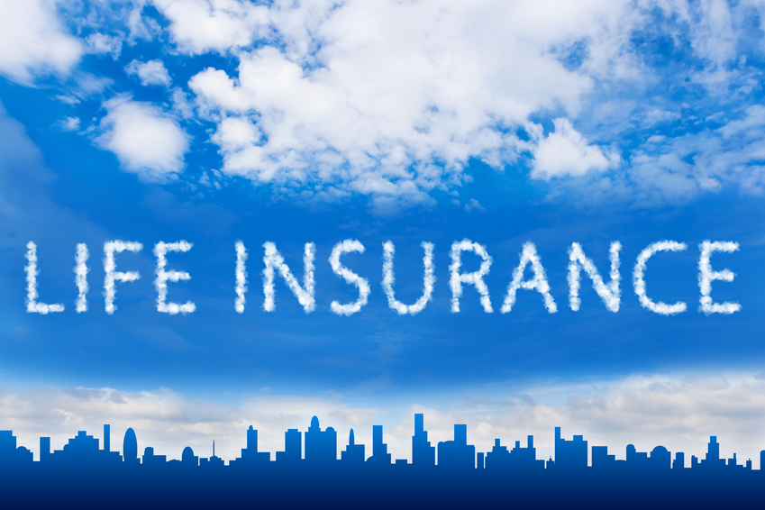 life insurance text on cloud