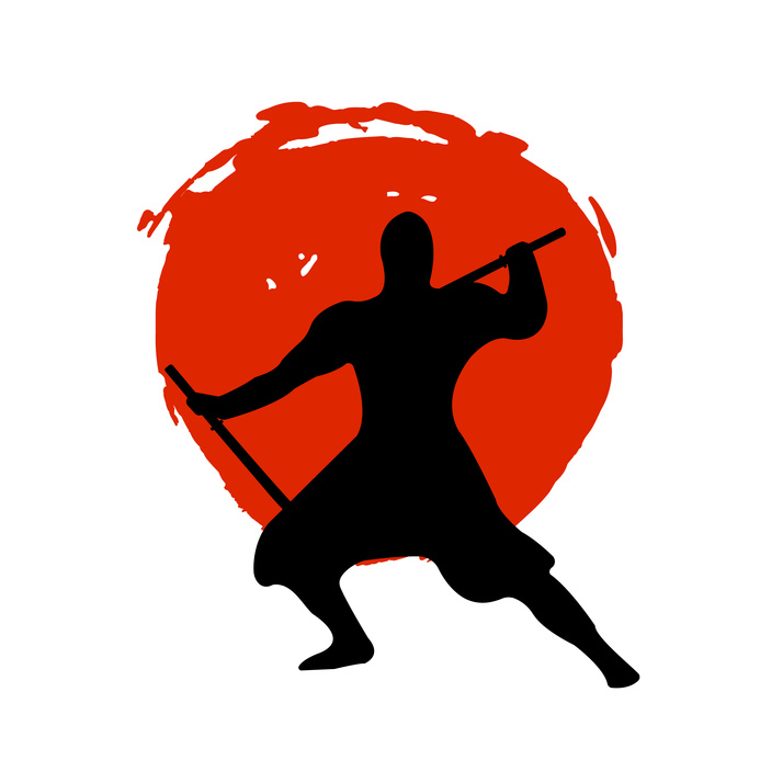 Ninja Warrior Silhouette on red moon and white background.